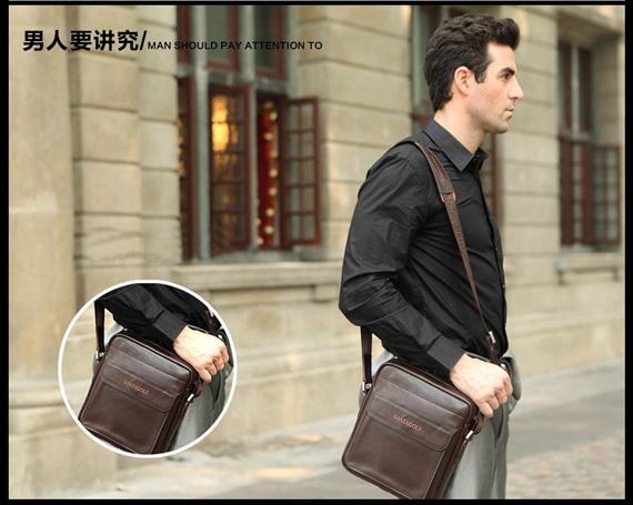 Túi da nam da thật dạng hộp SantaGolf thiết kế gọn nhẹ nam tính