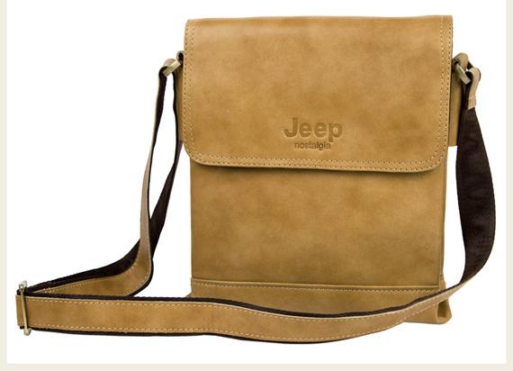 Túi xách nam da thật Jeep dạng hộp 001 màu nâu vàng mặt trước
