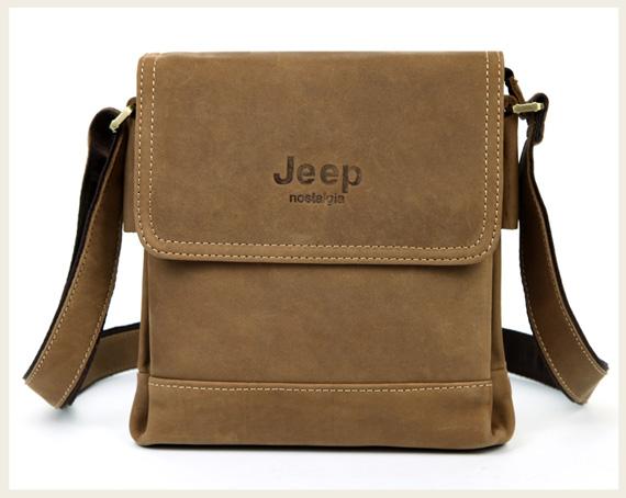 Túi xách nam da thật Jeep dạng hộp 001 màu nâu cafe mặt trước