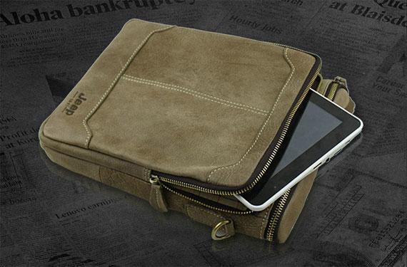 Ngăn khóa nhỏ bên ngoài túi xách nam da thật đựng vừa iPad