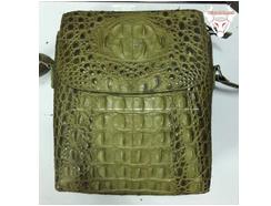 Túi da cá sấu nam nắp đậy đeo chéo