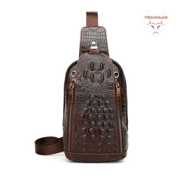 Túi đeo lưng nam vân cá sấu 01