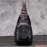 Túi đeo lưng nam da bò vân cá sấu 06