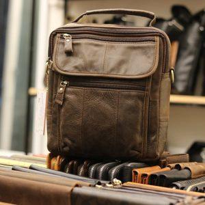 Túi đeo chéo nam da thật giá rẻ có quai xách tay KT41 màu ghi