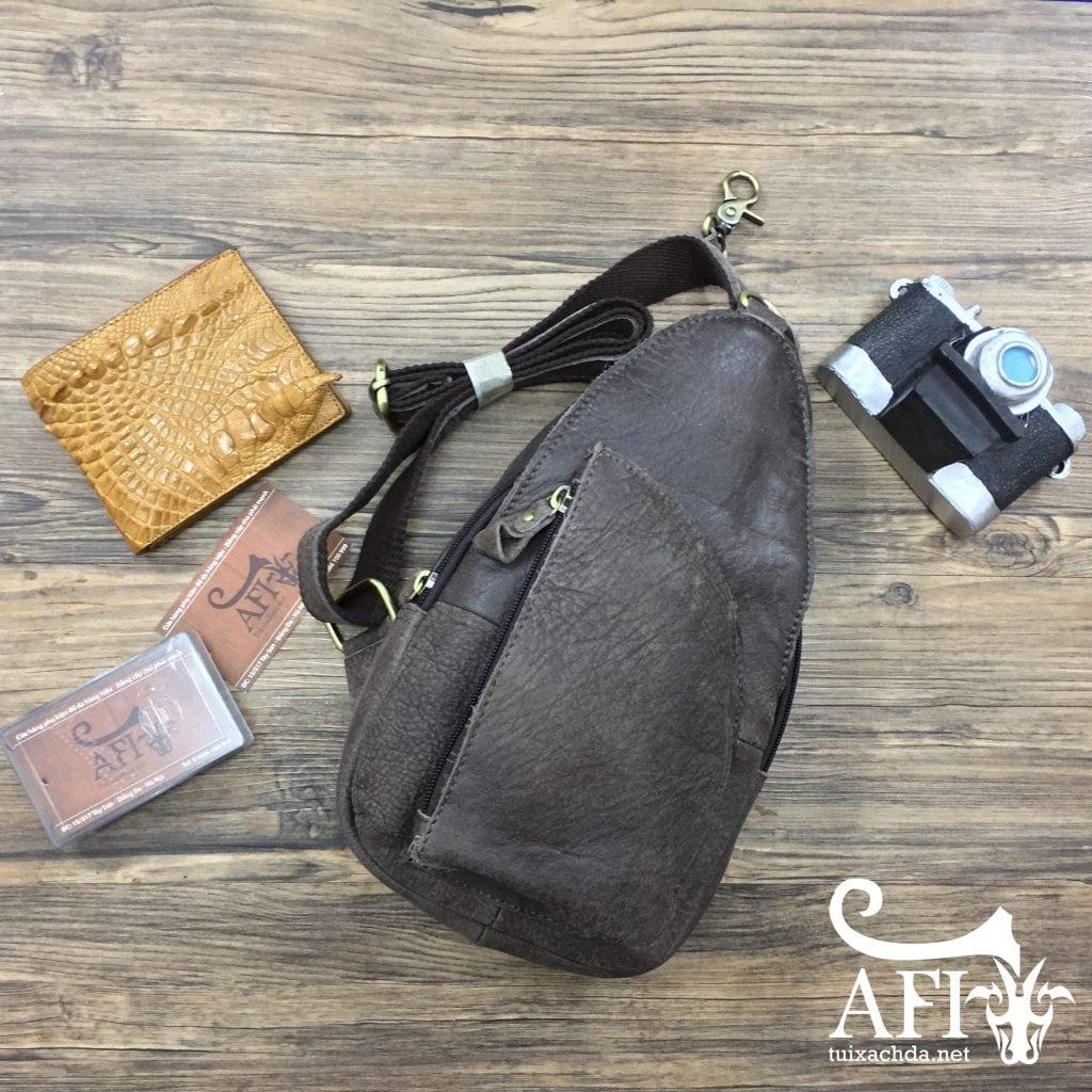 Túi đeo lưng đẹp cho nam bằng da thật giá rẻ tại Hà Nội 002 màu ghi