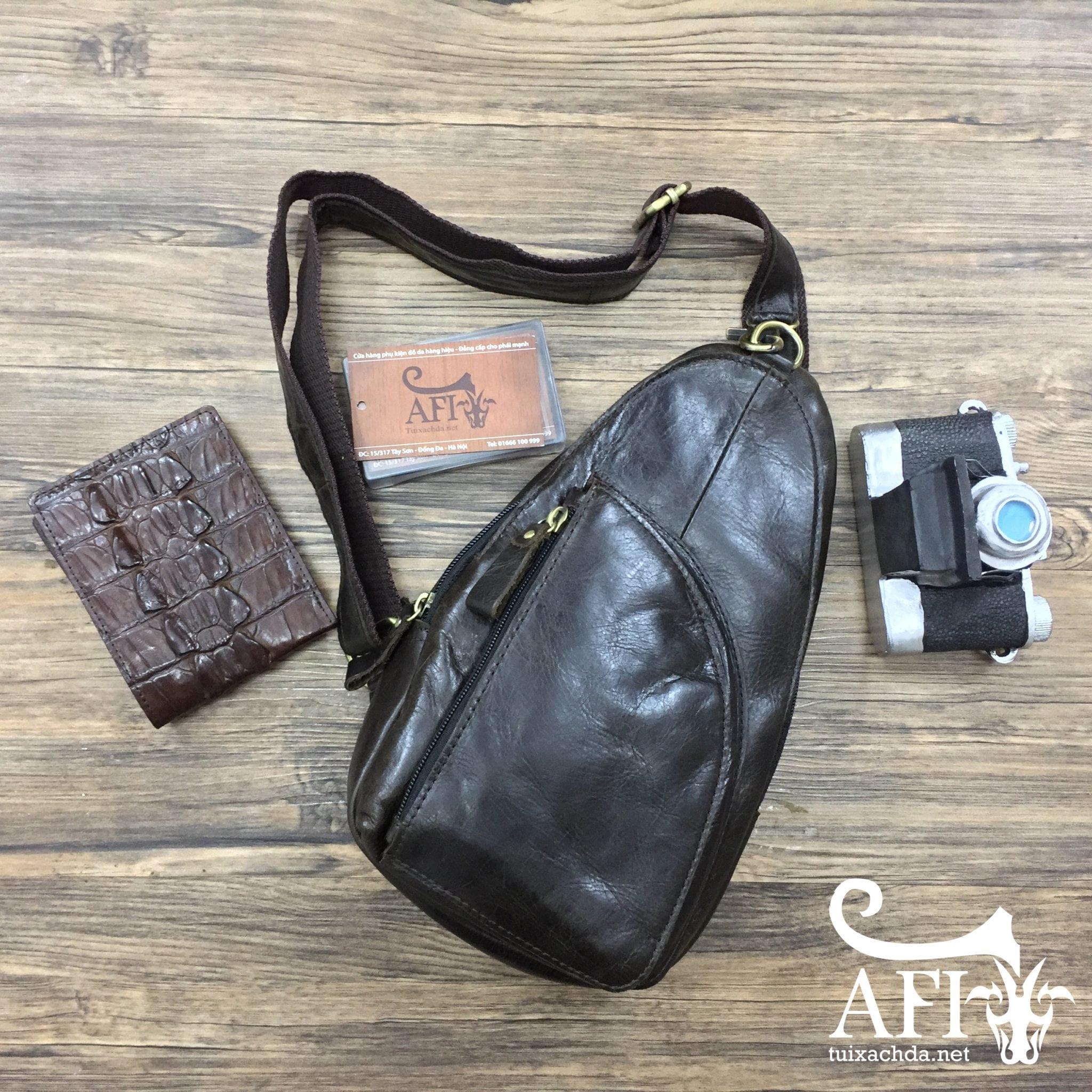 Túi đeo lưng đẹp cho nam bằng da thật giá rẻ tại Hà Nội 002 màu nâu bóng