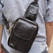 Túi đeo lưng nam thời trang da thật đựng iPad mini tdl10 đen