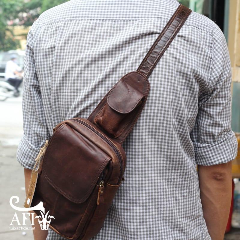 Túi đeo lưng nam thời trang da thật đựng iPad mini tdl10 nâu đất
