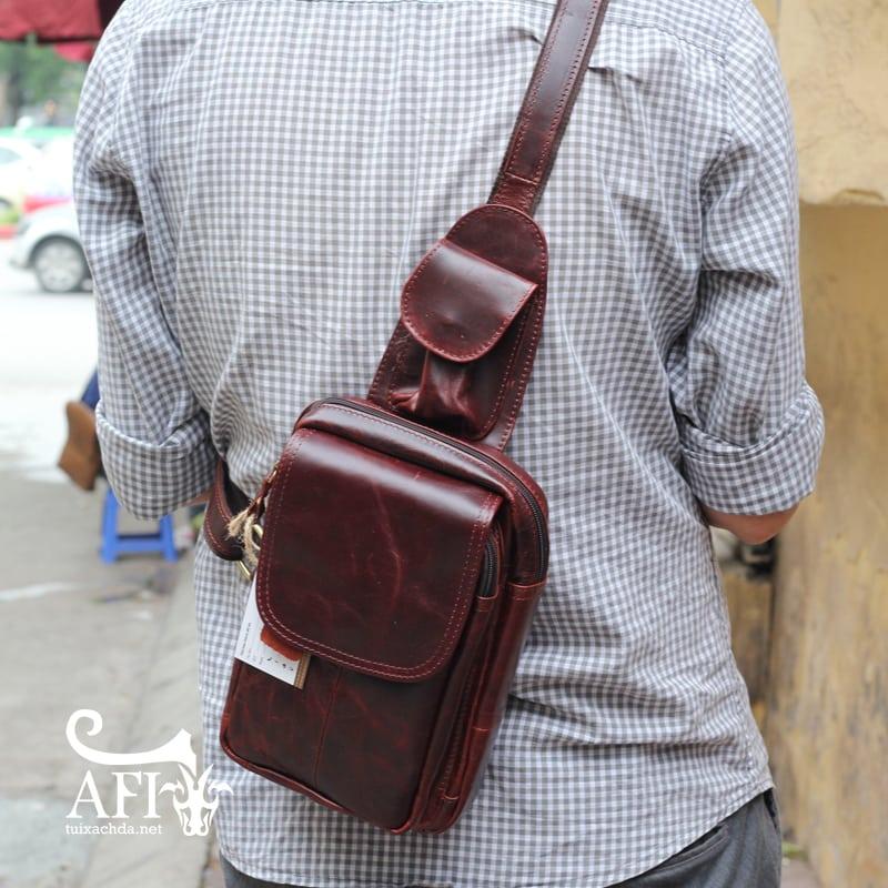 Túi đeo lưng nam thời trang da thật đựng iPad mini tdl10 nâu đỏ