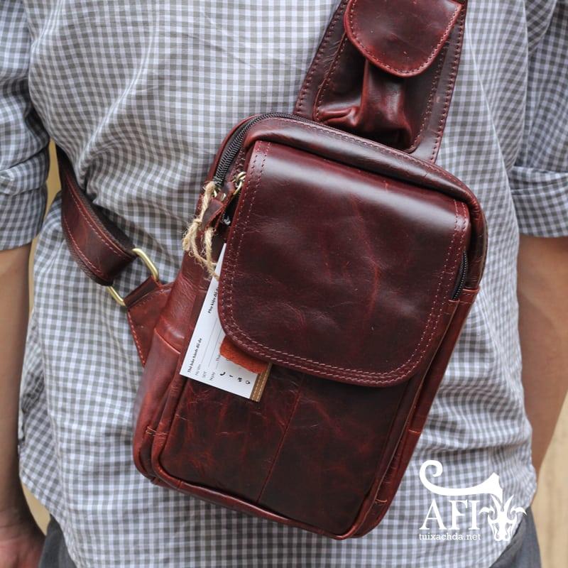 Túi đeo lưng nam thời trang da thật đựng iPad mini tdl10 nâu đỏ 2