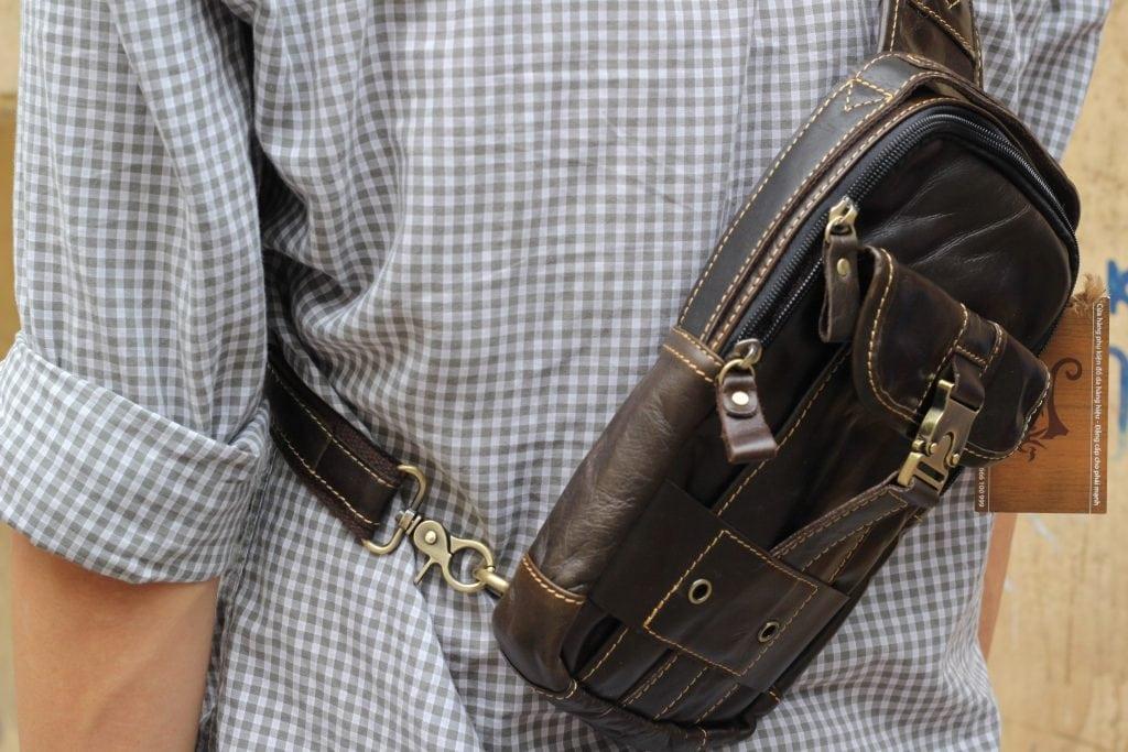 Túi đeo ngực da thật cho nam thời trang bụi bặm màu đen 3