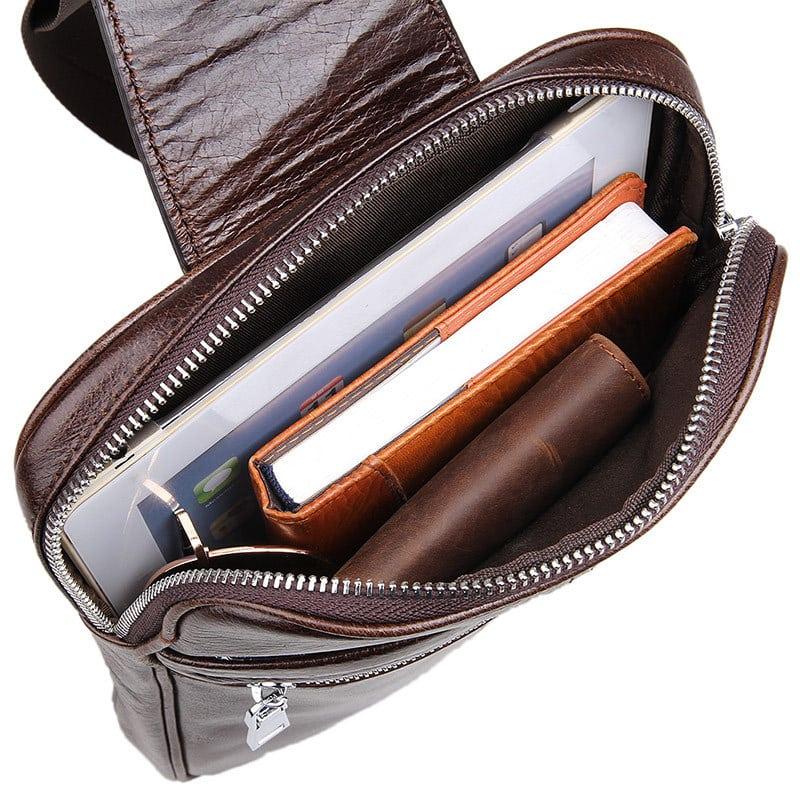 Mặt trong túi đeo ngực nam da thật gọn nhẹ TDL08