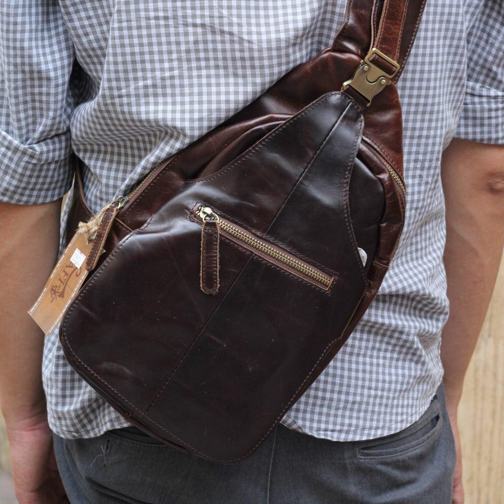 Túi đựng iPad đeo ngực nam da thật thời trang TDL12 1