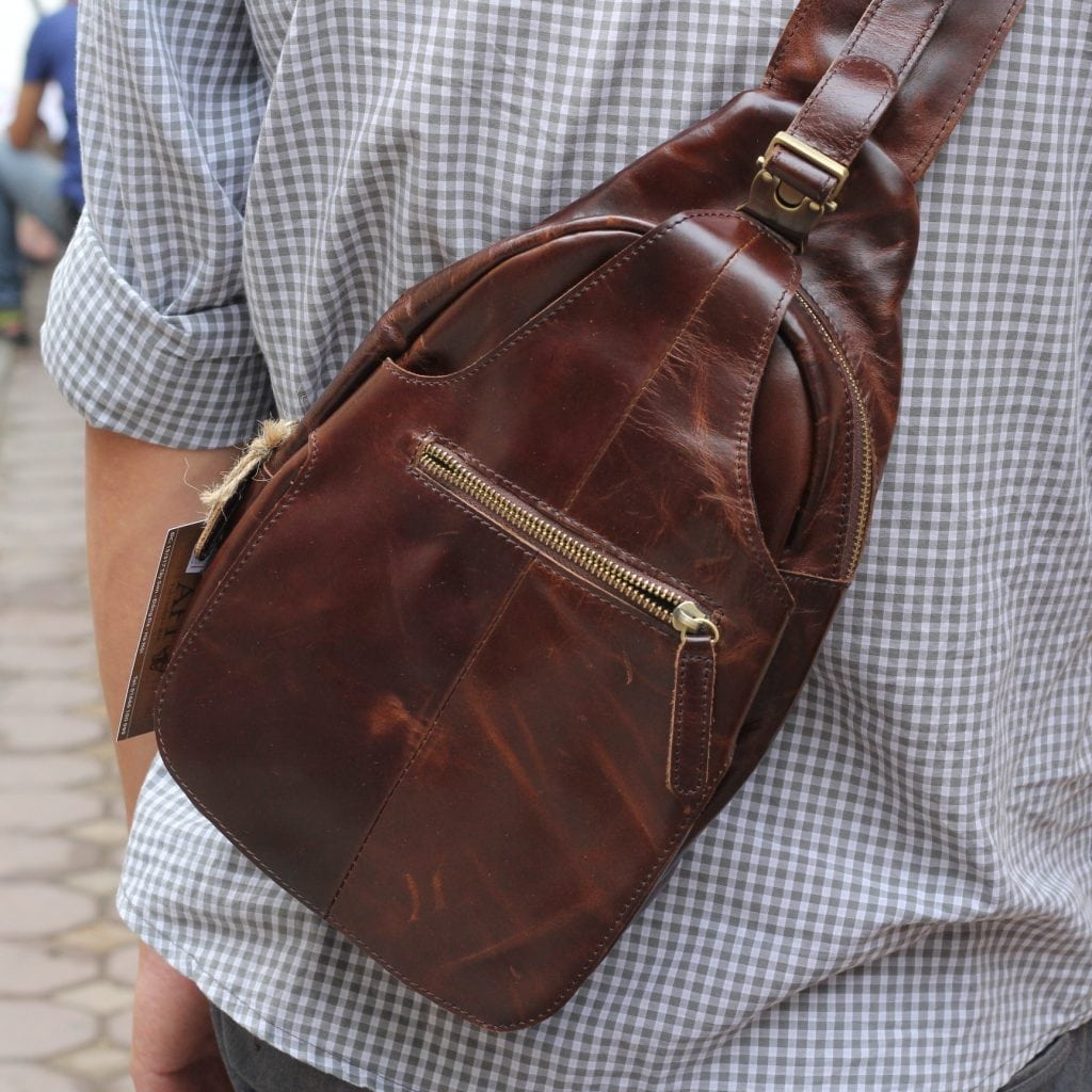 Túi đựng iPad đeo ngực nam da thật thời trang TDL12 6