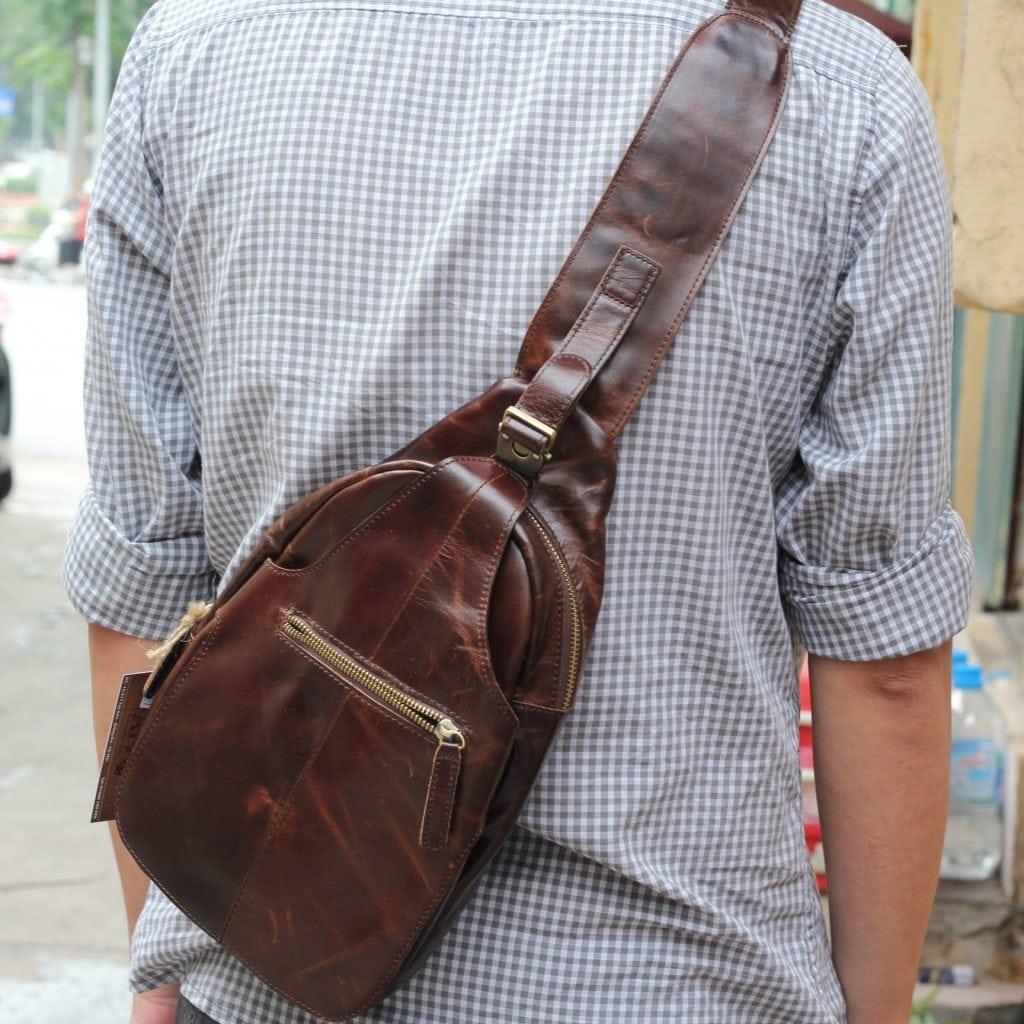 Túi đựng iPad đeo ngực nam da thật thời trang TDL12 7