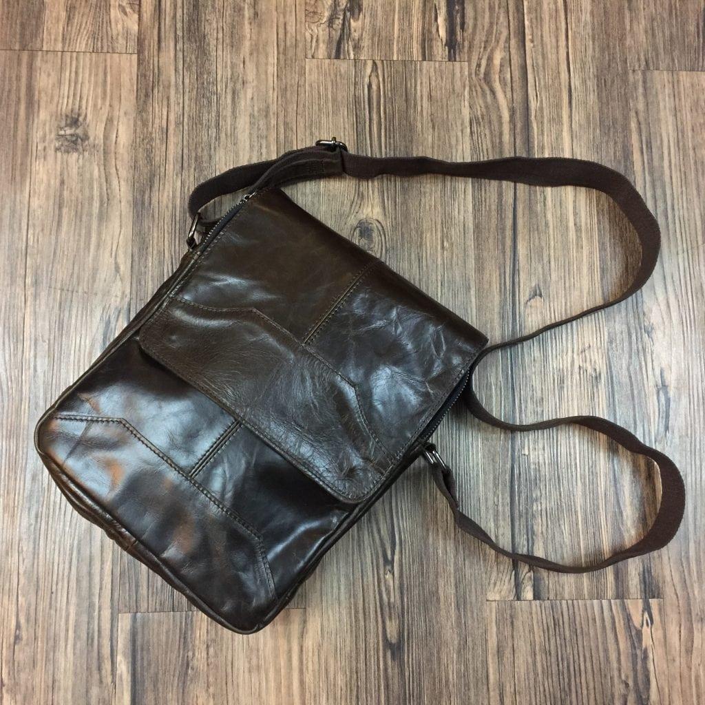 Túi xách nam da thật đeo chéo tuyệt đẹp 2017 KT42 nâu bóng
