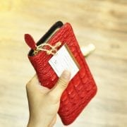 Ví da cá sấu nữ cầm tay thời trang mới nhất 2014 màu đỏ mỏng gọn