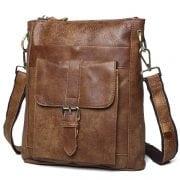 Túi đeo chéo nam da thật siêu mỏng đựng iPad KT42-M nâu bò