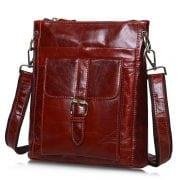 Túi đeo chéo nam da thật siêu mỏng đựng iPad KT42-M nâu đỏ