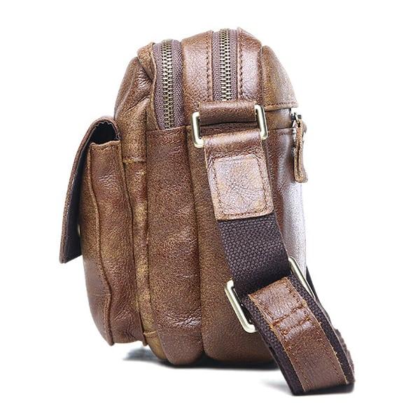 Túi đeo chéo nam đựng iPad da thật dạng hộp KT48 thân túi