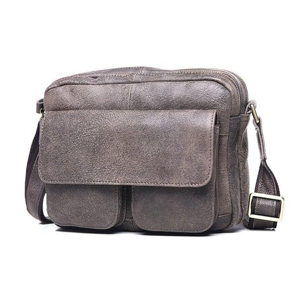 Túi đeo chéo nam đựng iPad da thật dạng hộp KT48 màu ghi