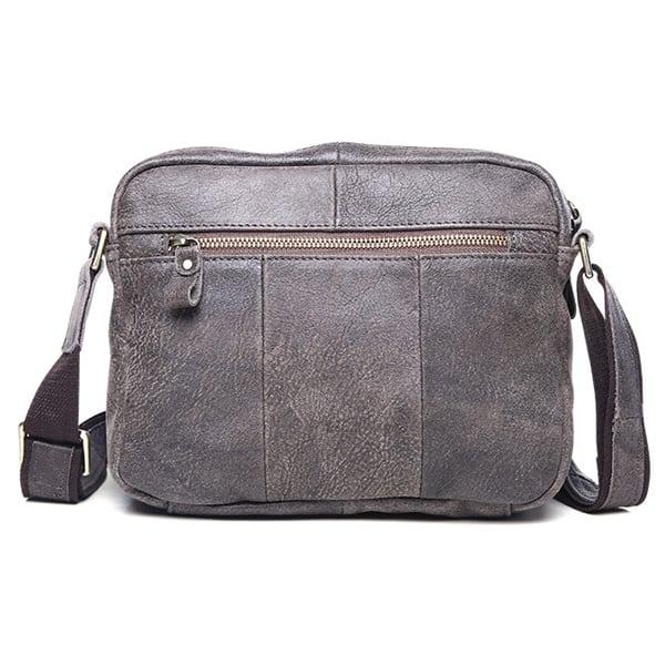 Túi đeo chéo nam đựng iPad da thật dạng hộp KT48 màu ghi mặt sau