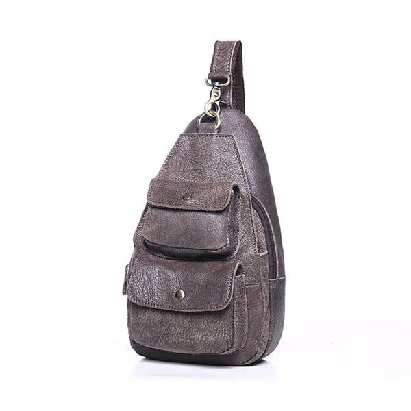 Túi đeo chéo ngực nam da thật giá rẻ TDL 15 màu ghi