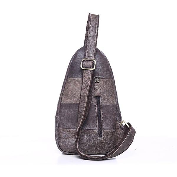 Túi đeo chéo ngực nam da thật giá rẻ TDL 15 màu ghi mặt sau