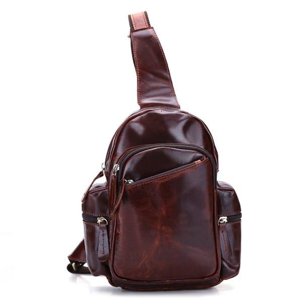 Túi đeo chéo ngực nam da thật giá rẻ TDL-16 nâu đỏ
