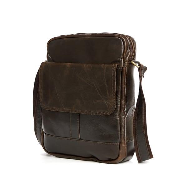 Túi xách nam da bò nguyên miếng dặn hộp đeo chéo KT49 nhìn nghiêng