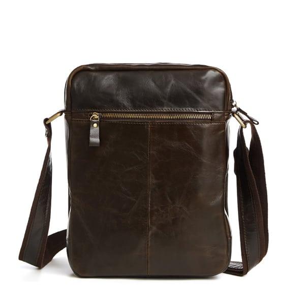 Túi xách nam da bò nguyên miếng dặn hộp đeo chéo KT52 mặt sau