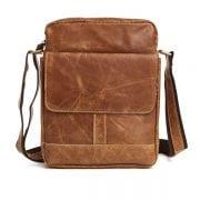 Túi xách nam da bò nguyên miếng dặn hộp đeo chéo KT49 màu nâu