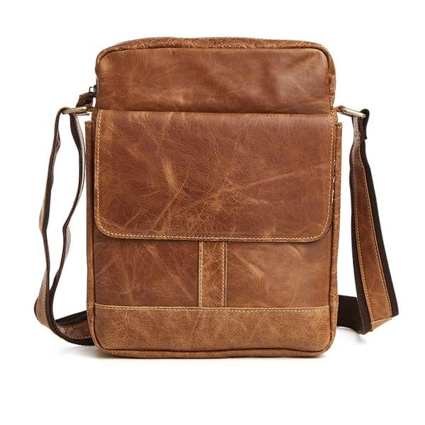 Túi xách nam da bò nguyên miếng dặn hộp đeo chéo KT52 màu nâu