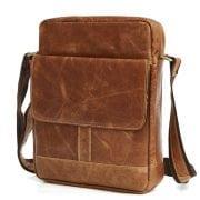 Túi xách nam da bò nguyên miếng dặn hộp đeo chéo KT49 màu nâu 1