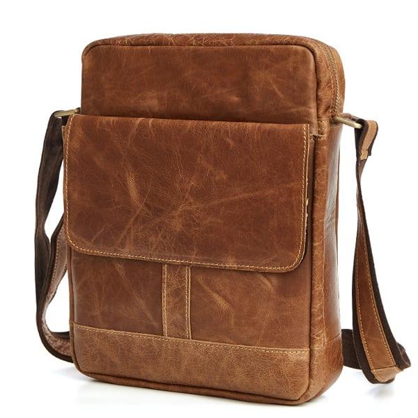 Túi xách nam da bò nguyên miếng dặn hộp đeo chéo KT52 màu nâu 1