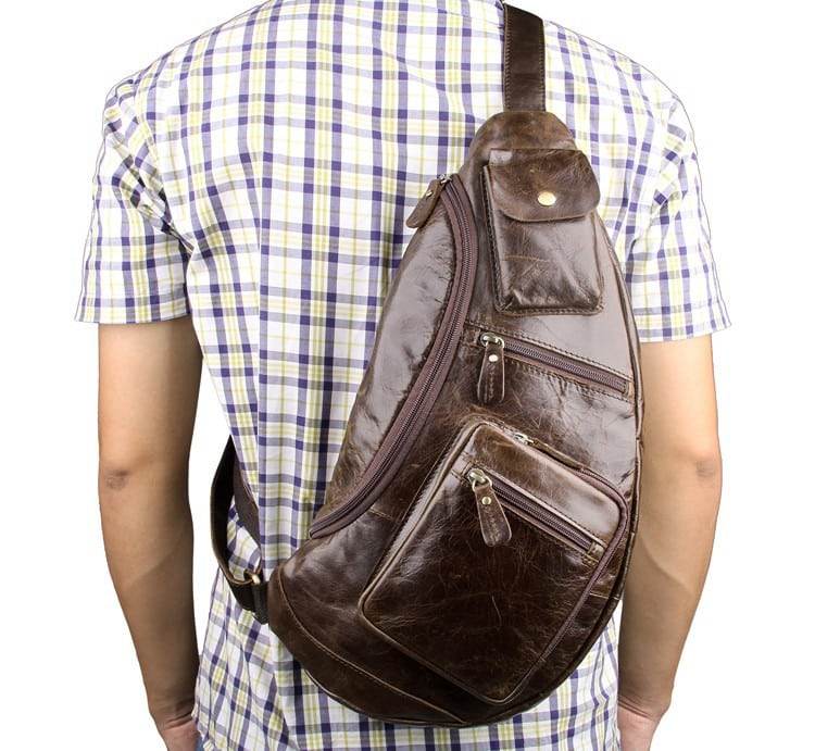 Túi đeo ngực nam da thật thời trang sang trọng TDL18 đeo sau lưng