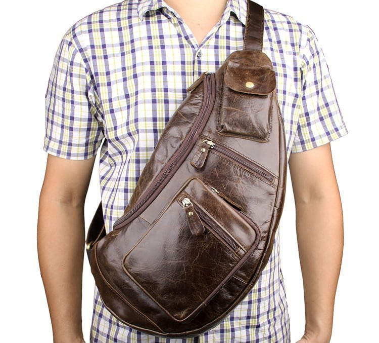 Túi đeo ngực nam da thật thời trang sang trọng TDL18 đeo trước ngực