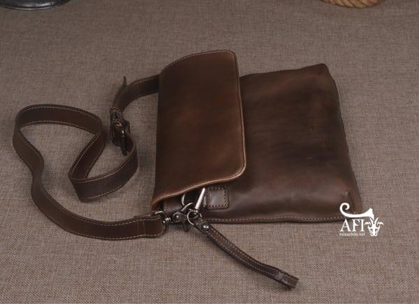 Cặp da nam clutch Bag đeo chéo cầm tay da thật sang trọng CD43 nâu đất 3