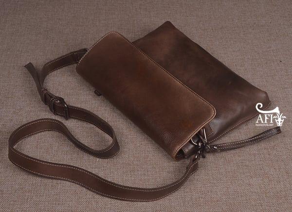 Cặp da nam clutch Bag đeo chéo cầm tay da thật sang trọng CD43 nâu đất 4