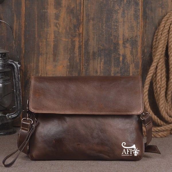 Cặp da nam clutch Bag đeo chéo cầm tay da thật sang trọng CD43 nâu đất