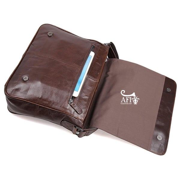 Cặp da nam đeo chéo đựng macbook da thật giá rẻ CD39 nắp túi