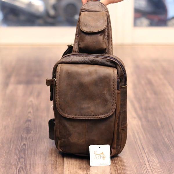 Túi đeo lưng nam thời trang da thật đựng iPad mini TDL 10