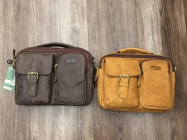Túi xách nam da thật hàng hiệu đựng iPad J19 2 màu vàng bò, ghi đậm