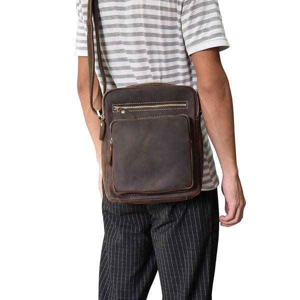 Túi đeo chéo nam da bò sáp dạng hộp KT58 thời trang tiện lợi