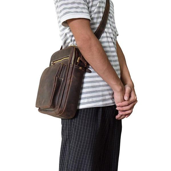 Túi đeo chéo nam da bò sáp dạng hộp KT58 một phong cách mới