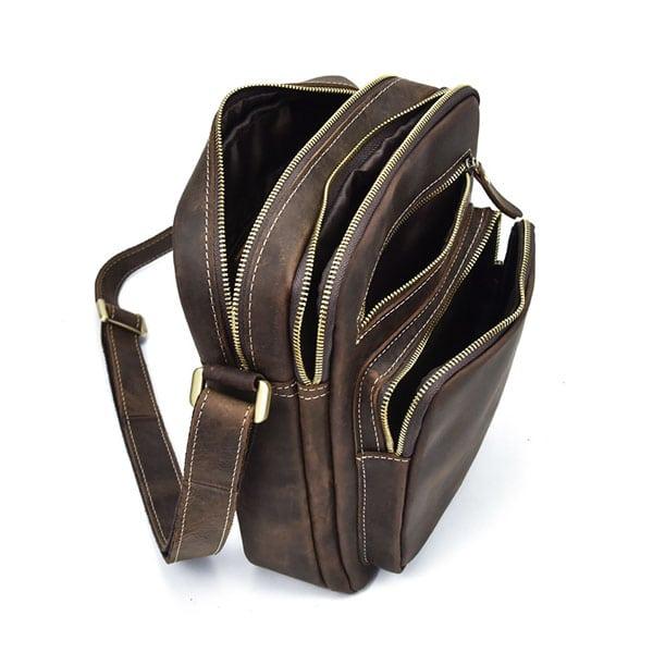 Túi đeo chéo nam da bò sáp dạng hộp KT58 hình ảnh các ngăn