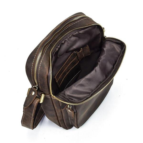 Túi đeo chéo nam da bò sáp dạng hộp KT58 hình ảnh ngăn trước