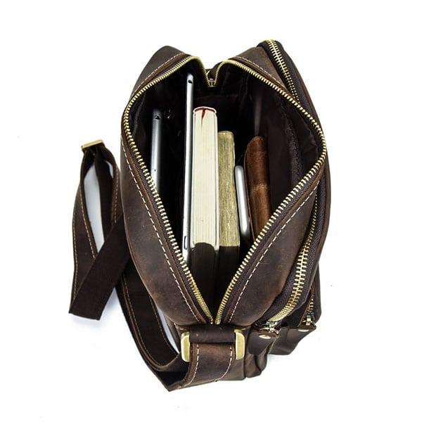 Túi đeo chéo nam da bò sáp dạng hộp KT58 rộng rãi thoải mái, tiện dụng