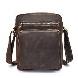 Túi đeo chéo nam da bò sáp dạng hộp KT58 mặt trước