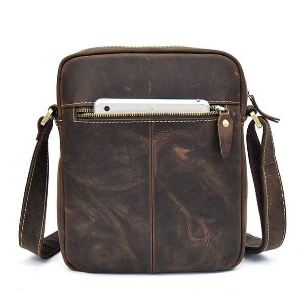 Túi đeo chéo nam da bò sáp dạng hộp KT58 ngăn sau